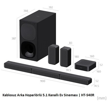Sony - Sony HT-S40R Kablosuz arka hoparlör 5.1 Ses Sistemi